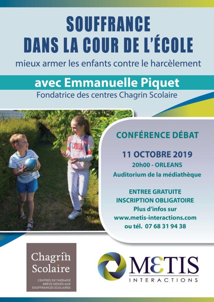 Affiche conférence Metis harcèlement scolaire Emmanuelle Piquet